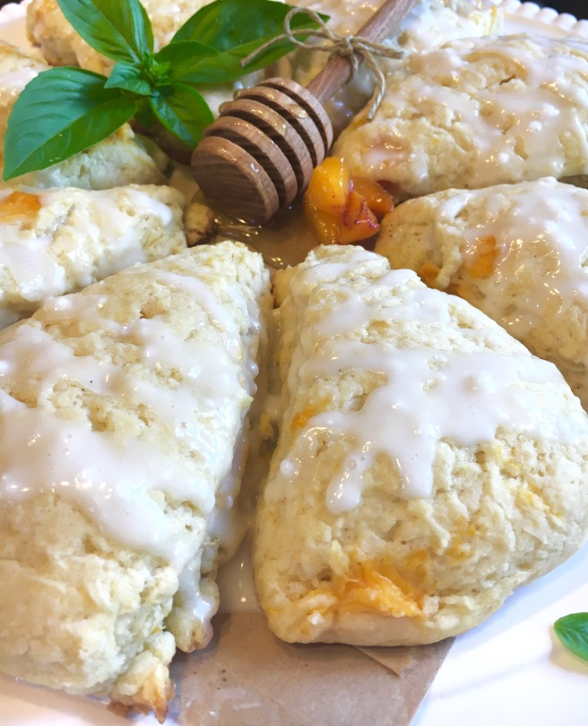 Honey Peach Scones + Basil Glaze & Tips On Making The
